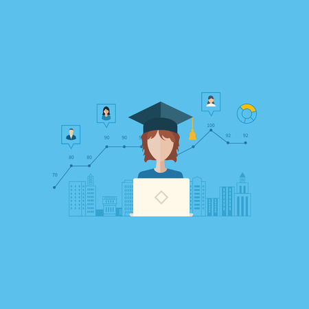 teaching: Flat design modern vector illustration icons set of online education and e-learning. Schedule online learning students