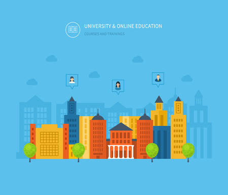 university: Flat design modern vector illustration icons set of online education, online training courses, e-learning, university, tutorials. School and university building icon. Urban landscape.