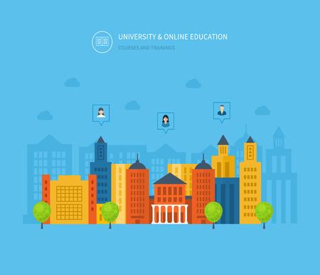 corsi di formazione: Flat Design moderno illustrazione vettoriale Set di icone di istruzione on-line, corsi di formazione online, e-learning, universit�, esercitazioni. Scuola e universit� icona costruzione. Paesaggio urbano.