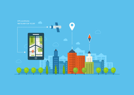 navigation icons: Vector illustration concept of  holding smart-phone with mobile navigation. Flat design modern vector illustration icons set of urban landscape and city life. Building icon.