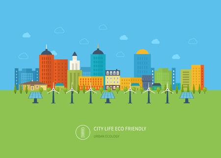 Stedelijk landschap. Platte ontwerp vector concept illustratie met iconen van ecologie, milieu, milieuvriendelijk en energie en groene technologie. Concept van het groene gebouw en schone energie Stock Illustratie