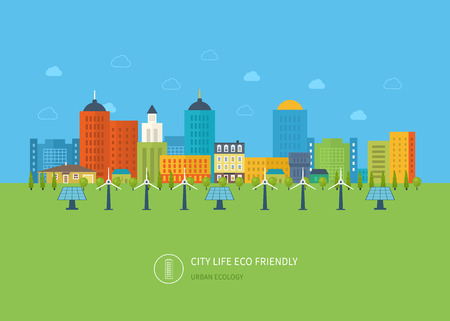 sustainable: Urban landscape. Flat design vector concept illustration with icons of ecology, environment, eco friendly energy and and green technology. Concept of green building and clean energy