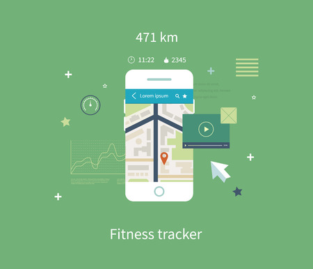 sports app: Vector mobile phone - fitness app concept on touchscreen. Flat vector collection of modern mobile phones with different user interface elements. Illustration