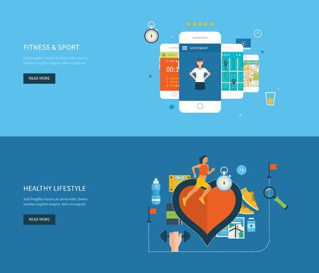 fitness: Vettore moderno appartamento icone di stile di vita sano, fitness e attività fisica. Healthy lifestyle concept. Vector mobile phone - concetto di forma fisica app sul touchscreen. Vettoriali