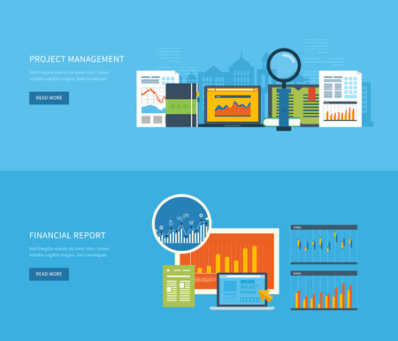 비즈니스 분석, 재무 보고서, 컨설팅, 팀 작업, 프로젝트 관리 및 개발을위한 플랫 디자인 일러스트 레이 션 개념입니다. 개념 웹 배너 및 인쇄 재료. 스톡 콘텐츠 - 43080611