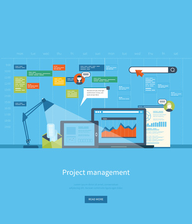project planning: Flat design illustration concepts for business analysis and planning, consulting, team work, project management and development. Concepts web banner and printed materials.