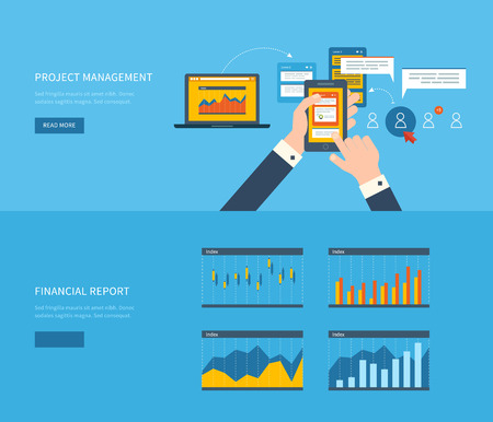 Flat design illustration concepts for business analysis, financial report, team work, consulting, project management and development. Concepts web banner and printed materials.