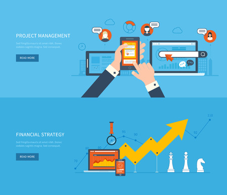 Flat design illustration concepts for business analysis and planning, financial strategy, consulting, team work, project management and development. Concept to building successful business Ilustracja