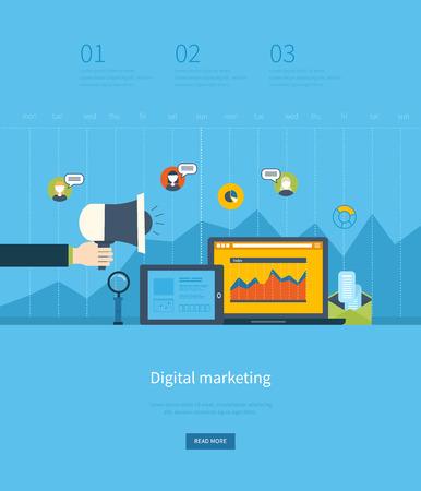 ビジネス分析と計画、デジタル マーケティング、チームの仕事、プロジェクト管理、開発フラット設計図の概念。概念、web バナーや印刷物。
