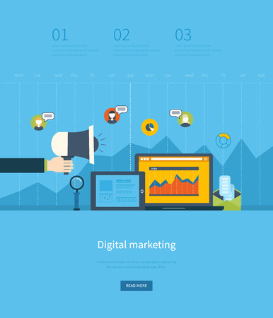 Flat design illustration concepts for business analysis and planning, digital marketing, team work, project management and development. Concepts web banner and printed materials. Vectores