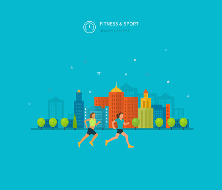actividad fisica: Modernos iconos vectoriales plana de estilo de vida saludable, la aptitud y la actividad f�sica. Concepto de estilo de vida saludable. Vectores