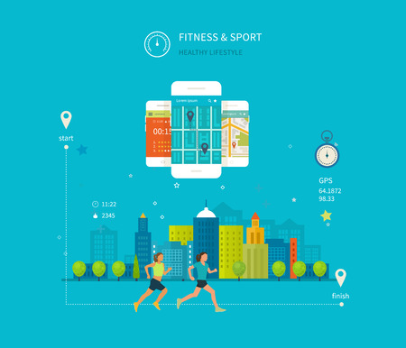 physical activity: Vector mobile phone - fitness app concept on touchscreen. Modern flat vector icons of healthy lifestyle, fitness and physical activity. Healthy lifestyle concept.