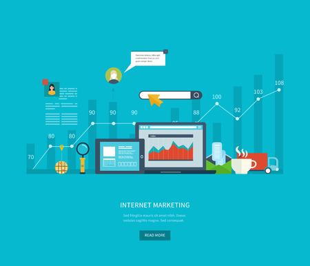 Reeks vlakke design concept pictogrammen voor het web en mobiele telefoon diensten en apps. Iconen voor internet marketing, online winkelen, project management, teamwork, consulting en ontwikkeling