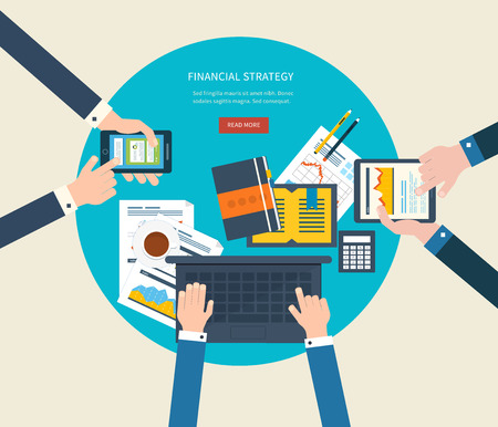 비즈니스 분석 및 계획, 팀 작업, 재무 보고서, 프로젝트 관리 및 개발을위한 플랫 디자인 일러스트 레이 션 개념입니다. 개념 웹 배너 및 인쇄 재료. 스톡 콘텐츠 - 43210279