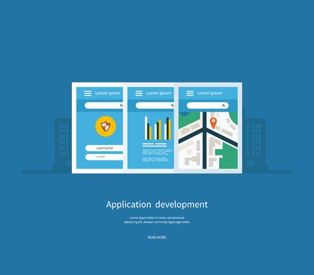 ebusiness: Modern flat design application development concept  for e-business, web sites, mobile applications, banners, mobile navigation. Vector illustration