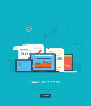 Flat design illustration concepts for business analysis, financial statement, consulting, team work, project management and development. Concepts web banner and printed materials. 版權商用圖片 - 44081588