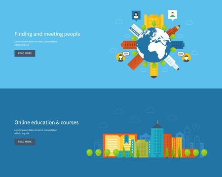 corsi di formazione: Set di piatti design illustrazione vettoriale concetti per trovare e incontrare le persone, l'istruzione on-line, corsi di formazione, e-learning, universit�. Mobile app.