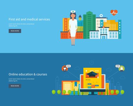 Flat design modern vector illustration icons set of global education, online training courses, university, tutorials, healthcare, medical center and hospital building. Urban landscape. Illustration