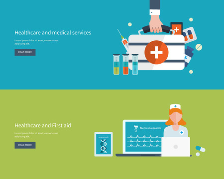 ヘルスケア: フラット デザインのモダンなベクトル イラスト コンセプト保健・医療支援・研究。ベクトル図