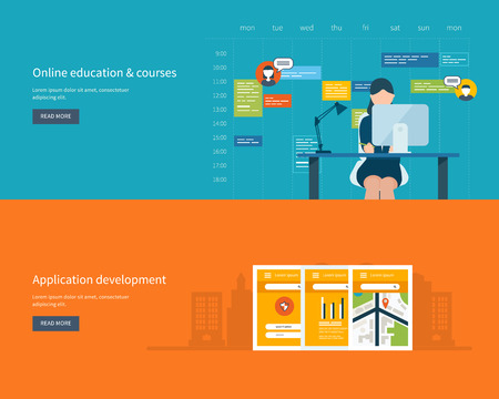 courses: Modern flat design application development concept  for e-business, web sites,  banners, mobile navigation. Online education and training courses. Vector illustration