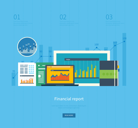 business analysis: Flat design illustration concepts for business analysis, financial report, consulting, team work, project management and development. Concepts web banner and printed materials.
