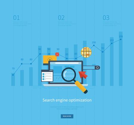 검색 엔진 최적화 및 웹 분석 요소에 대한 평면 디자인 벡터 일러스트 레이 션 개념의 집합입니다. 모바일 앱.