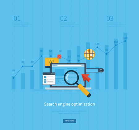 engine: Set of flat design vector illustration concepts for search engine optimization and web analytics elements. Mobile app.