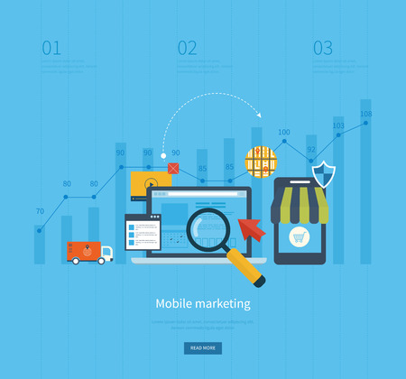 online shopping: Icons for mobile marketing, online shopping, project management, teamwork, consulting and development. Vector illustration Illustration