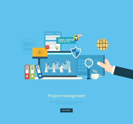 business consulting: Flat design illustration concepts for business analysis, planning, consulting, teamwork, project management and development.