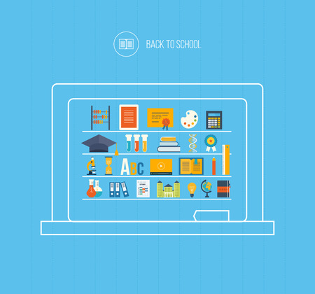 Retour à l'école plat conception des icônes. Ensemble de l'enseignement à distance et e-learning. Cours en ligne des universités et des collèges propose la vidéo-sur-demande, forum, communication.