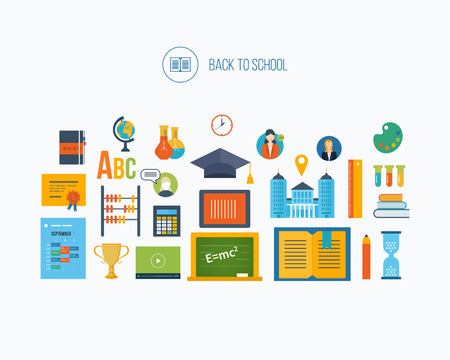 proposes: Back to school flat icons design. Set of distance education and e-learning. Online course from universities and colleges proposes video-on-demand, forum, communication. Illustration