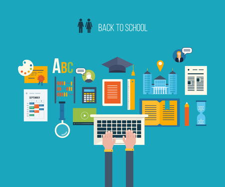 Back to school flat icons design. Set of distance education and e-learning. Online course from universities and colleges proposes video-on-demand, forum, communication. Vectores