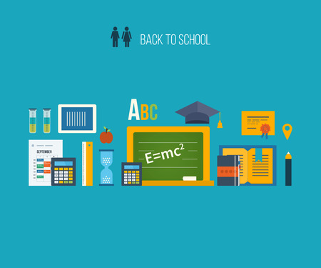 university building: Back to school flat icons design. Set of distance education and e-learning. Online course from universities and colleges proposes video-on-demand, forum, communication. Illustration