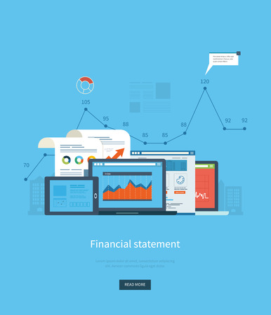 online news: Flat design illustration concepts for business analysis, financial statement, consulting, team work, project management and development. Concepts web banner and printed materials.