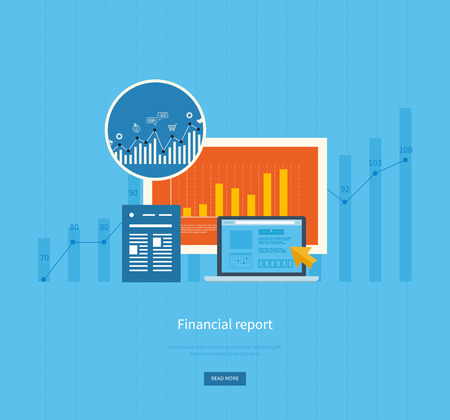 report: Flat design illustration concepts for business analysis, financial report, consulting, team work, project management and development. Concepts web banner and printed materials.