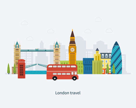 english bus: Londres, Royaume-Uni icônes plates concept de Voyage de conception. Bâtiment historique et moderne. Vector illustration