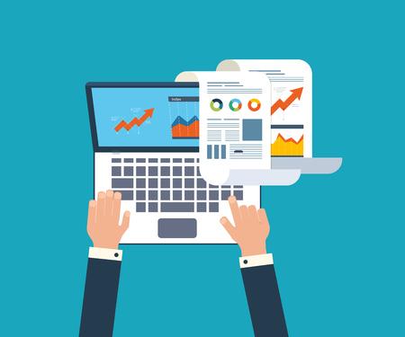 비즈니스 분석, 재무 보고서, 컨설팅, 팀 작업, 프로젝트 관리 및 개발을위한 플랫 디자인 일러스트 레이 션 개념입니다. 개념 웹 배너 및 인쇄 재료. 스톡 콘텐츠 - 44906741