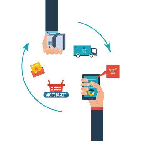 Icons for internet marketing, delivery and online shopping, project management, team work. Set of flat design concept icons for web and mobile phone services and apps.
