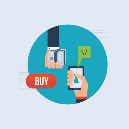 mobile marketing: Icons for internet marketing, delivery and online shopping. Set of flat design concept icons for web and mobile phone services and apps. Illustration