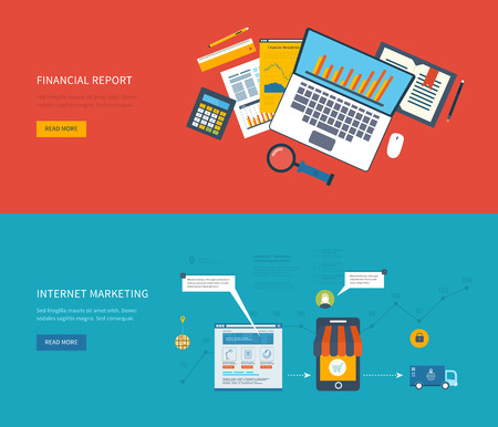 internet marketing: Flat design illustration concepts for business analysis, financial strategy, consulting, team work, project management, internet marketing and online shopping. Concept to building successful business