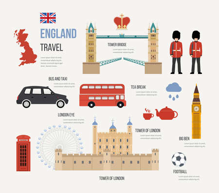 london tower bridge: London, United Kingdom flat icons design travel concept. London travel. Historical and modern building. Vector illustration