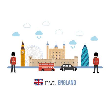 bus anglais: Londres, Royaume-Uni icônes plates concept de Voyage de conception. Voyage Londres. Bâtiment historique et moderne. Vector illustration Illustration