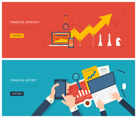 Flat design modern vector illustration concept of analyzing project, financial report and strategy, financial analytics, market research and planning documents