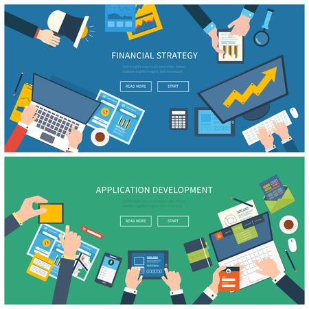 Flat design illustration concepts for business analysis, consulting, team work, project management and application development, financial report and strategy, financial analytics, market research.