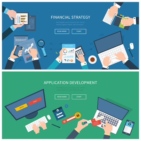 web site: Flat design illustration concepts for business analysis, consulting, team work, project management and application development, financial report and strategy, financial analytics, market research.