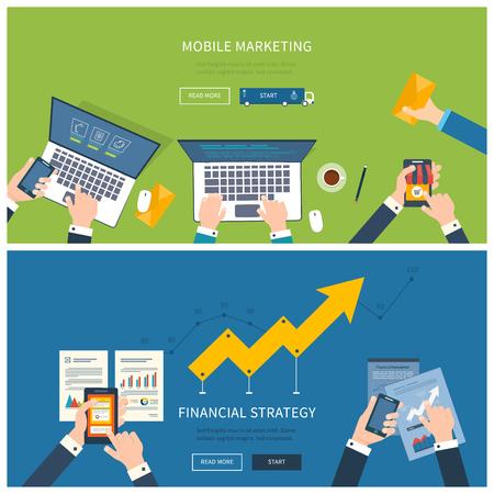 ビジネス分析および計画フラット設計図の概念、チーム作業、財務報告書、オンライン ショッピング、プロジェクト管理、開発。概念、web バナーや