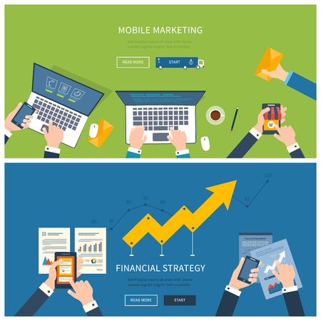 Flat design illustration concepts for business analysis and planning, team work, financial report, online shopping, project management and development. Concepts web banner and printed materials. Vectores