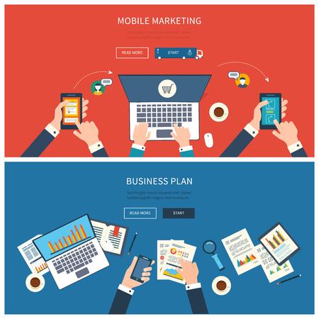 비즈니스 미팅, 팀 작업, 온라인 쇼핑, 모바일 마케팅, 프로젝트 관리 및 개발에 관한 프로젝트를 분석 팀워크의 플랫 디자인 현대 벡터 일러스트 레이