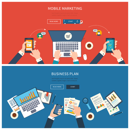 Flat design modern vector illustration concept of teamwork analyzing project on business meeting, team work, online shopping, mobile marketing, project management and development. Top view banner