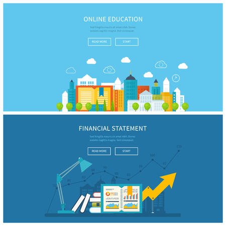 financial report: Flat design modern vector illustration icons set of mobile education, online training courses, business analysis, financial report, consulting. School and university building icon. Urban landscape.